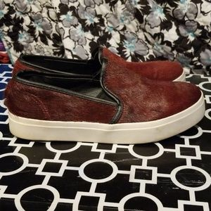 Steve Madden Size 7 Burgundy Pony Hair Loafers